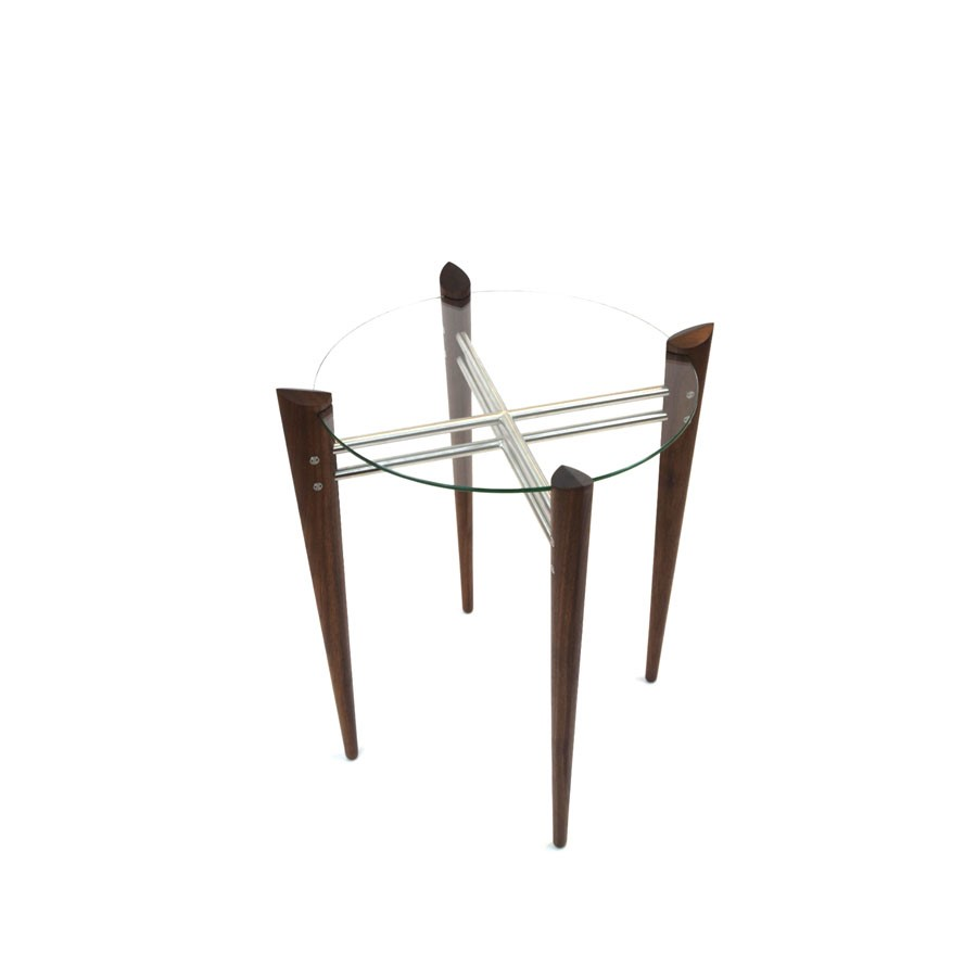 Turned Leg Accent Table in Walnut with Stainless Steel Image