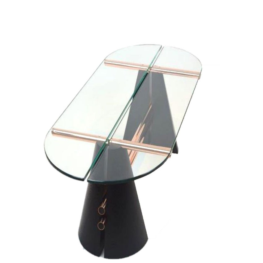 Split Cone Base Coffee Table Ebonized Ash with Copper Image