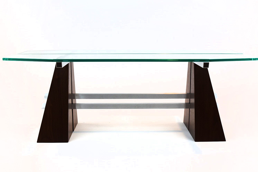 Split Pyramid Coffee Table in Walnut with Brushed Aluminum Image