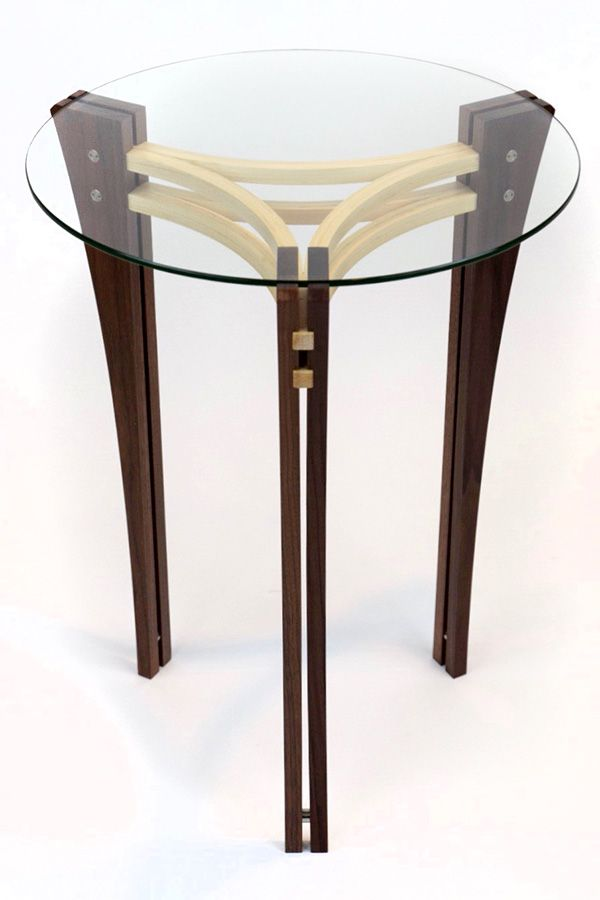 Split Leg accent table in Walnut and Maple Image