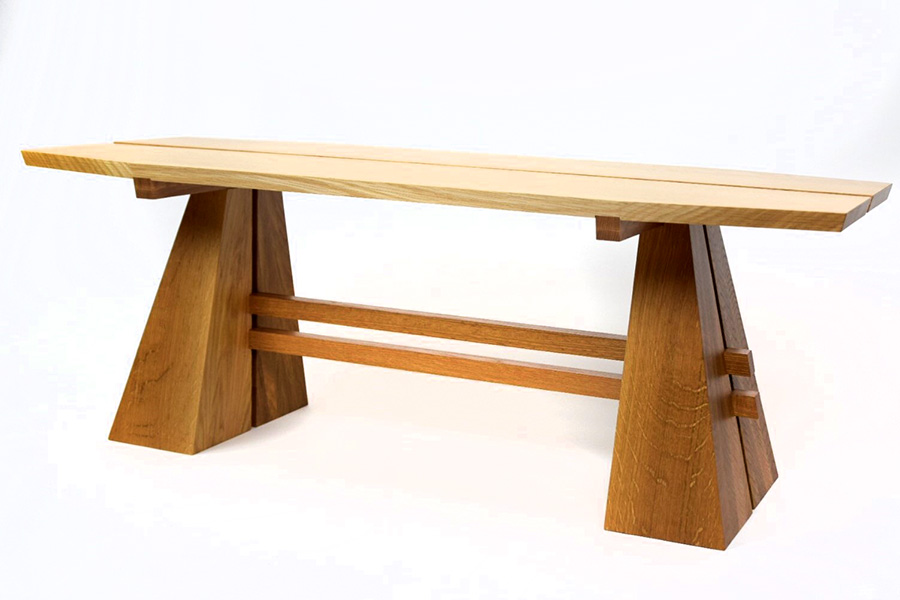 Split Pyramid Coffee Table in Rift and Quartered White Oak Image