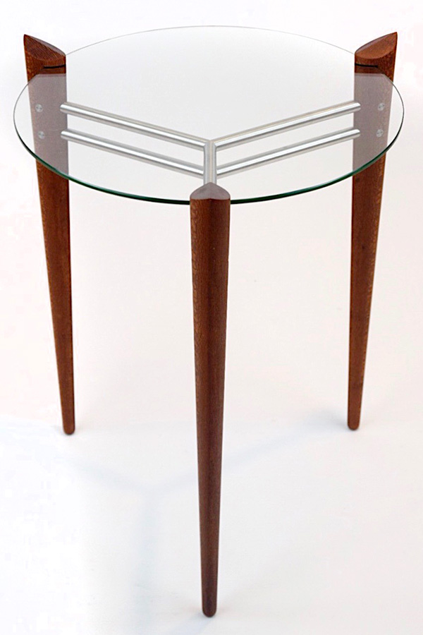 Turned Leg Accent Table in Leopardwood with Stainless Steel Image