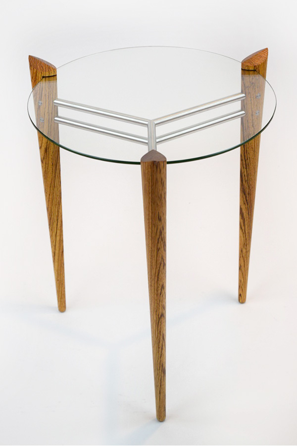 Turned Leg Accent Table Made of Zebrawood with Stainless Steel Image